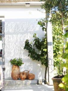 Peter Englander Randig skugga mot vitputsad fasad.